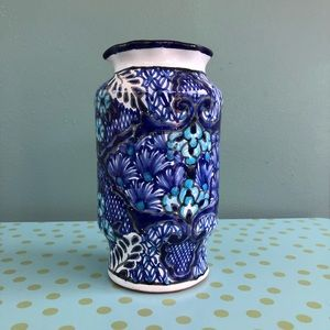 Mexican Talavera Pottery Vase Blue Hand Painted